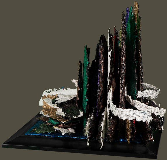 'Upper Kintla Lake' - acrylic paint sculpture