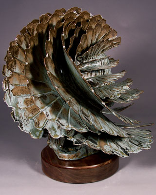 'Silver Leaf' - abstract ceramic sculpture